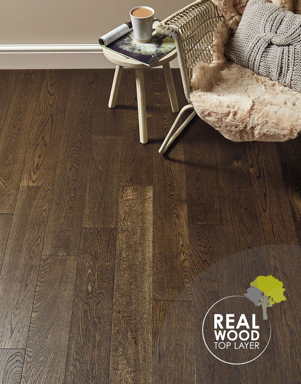 Evocore Nature Forest Oak Direct, Forest View Chocolate 8mm Laminate Flooring