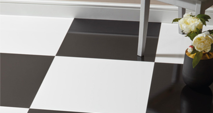 Chequer Tile - White High Gloss Laminate Flooring - Descriptive 3