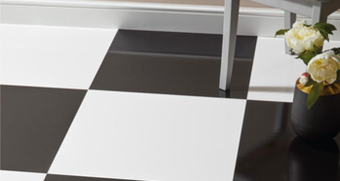 Chequer Tile - Black High Gloss Laminate Flooring - Descriptive 3