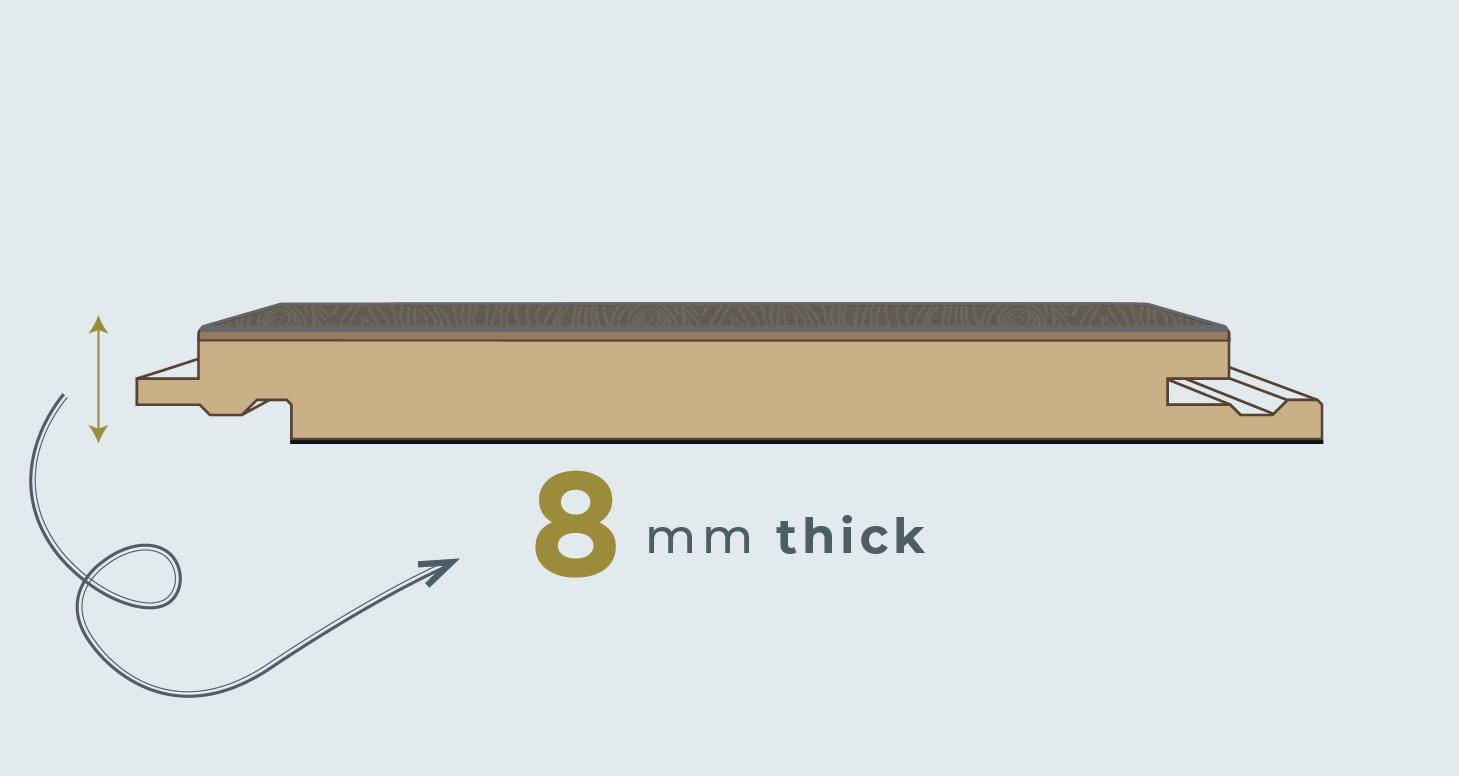 8mm Trade Select - Titanium Oak Laminate Flooring - Descriptive 1