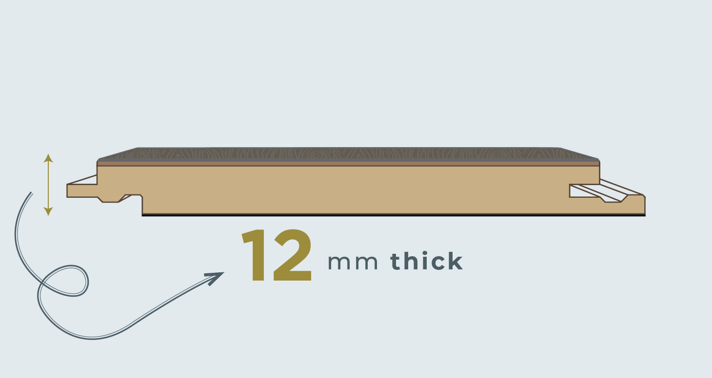12mm Trade Select - Titanium Oak Laminate Flooring - Descriptive 1