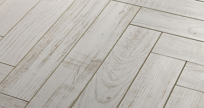 Vintage Chateau Herringbone - White Chestnut Laminate Flooring - Descriptive 2