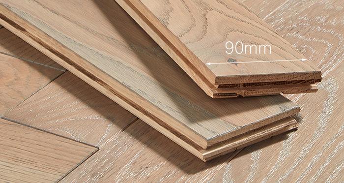 Park Avenue Herringbone Silk Grey Oak Solid Wood Flooring - Descriptive 3