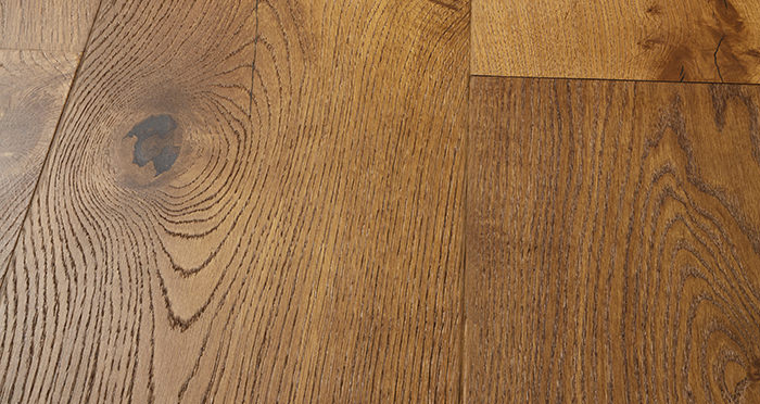 Mansion Golden Smoked Oak Brushed & Lacquered Engineered Wood Flooring - Descriptive 1
