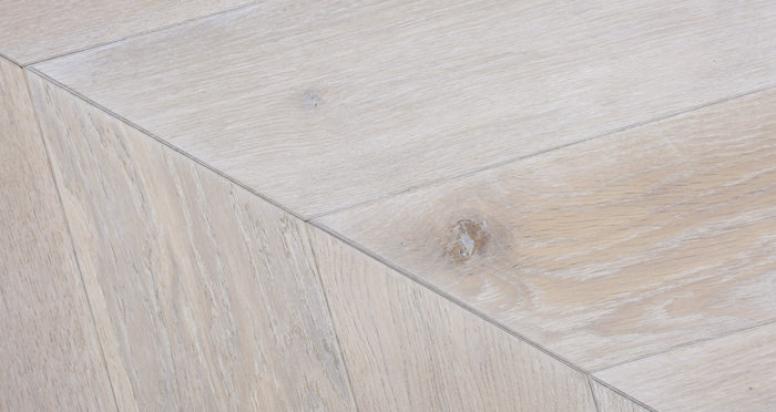 Whitewashed Oak Chevron Oak Solid Wood Flooring - Descriptive 3