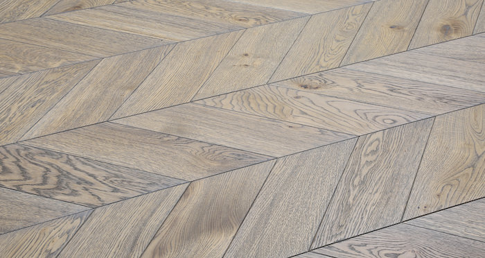 Brushed Grey Chevron Oak Solid Wood Flooring - Descriptive 1