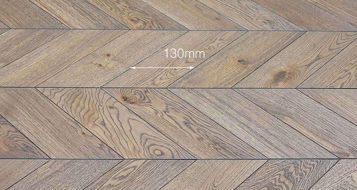 Brushed Grey Chevron Oak Solid Wood Flooring - Descriptive 2