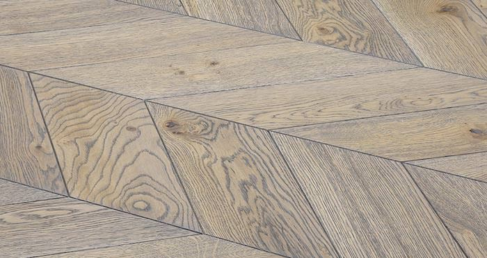 Brushed Grey Chevron Oak Solid Wood Flooring - Descriptive 4