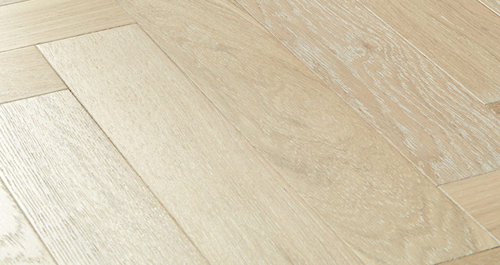 Branscombe Whitewashed Coastal Herringbone Oak Engineered Wood Flooring - Descriptive 1