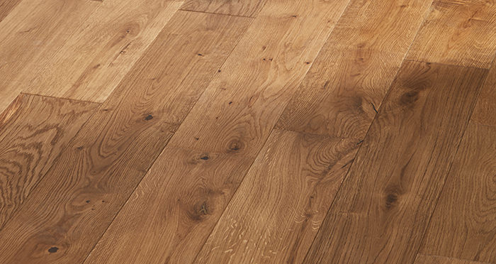 Manor Golden Smoked Oak Brushed & Lacquered Engineered Wood Flooring - Descriptive 2
