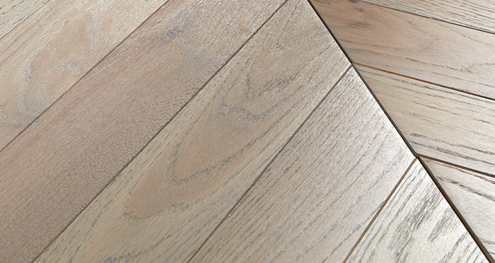 Park Avenue Chevron Silk Grey Oak Brushed & Oiled Solid Wood Flooring - Descriptive 1
