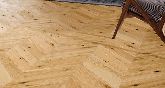 Chelsea Chevron - Woodland Oak Brushed & Lacquered Engineered Wood Flooring - Descriptive 1