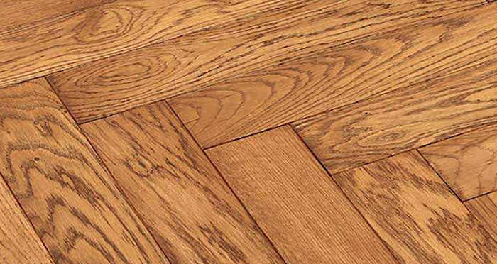 Park Avenue Herringbone Golden Oak Solid Wood Flooring - Descriptive 4