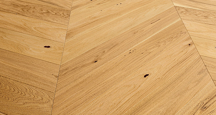 Chelsea Chevron - Natural Oak Brushed & Lacquered Engineered Wood Flooring - Descriptive 2
