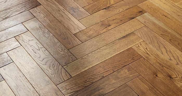 Oxford Herringbone Golden Smoked Oak Engineered Wood Flooring - Descriptive 2