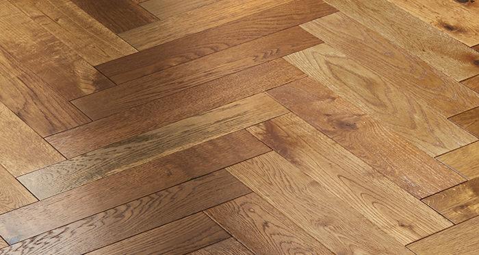 Oxford Herringbone Golden Smoked Oak Engineered Wood Flooring - Descriptive 5