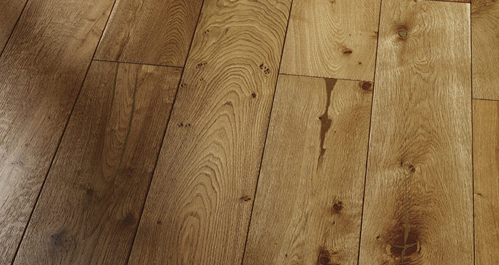 Farmhouse Golden Smoked Oak Brushed & Lacquered Engineered Wood Flooring - Descriptive 2