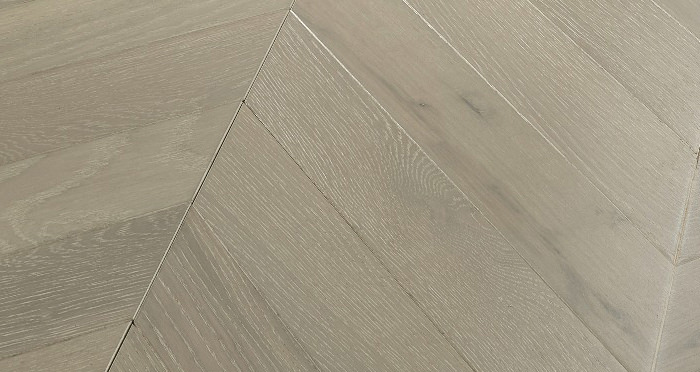 Cambridge Chevron Pearl Grey Oak Brushed & Lacquered Engineered Wood Flooring - Descriptive 1