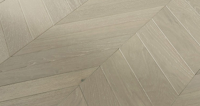 Cambridge Chevron Pearl Grey Oak Brushed & Lacquered Engineered Wood Flooring - Descriptive 3