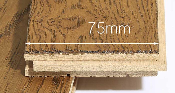 Narrow Caramel Oak Brushed & Lacquered Solid Wood Flooring - Descriptive 3