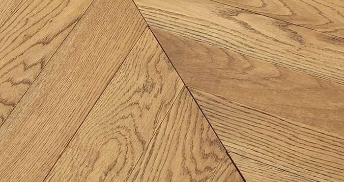Park Avenue Chevron Golden Oak Brushed & Oiled Solid Wood Flooring - Descriptive 1