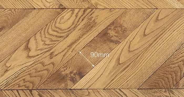 Park Avenue Chevron Golden Oak Brushed & Oiled Solid Wood Flooring - Descriptive 3