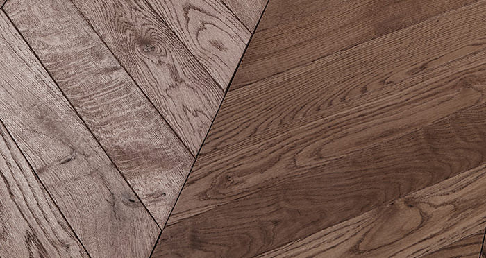 Park Avenue Chevron Chocolate Oak Brushed & Oiled Solid Wood Flooring - Descriptive 1