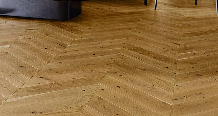 Chelsea Chevron - Golden Oak Brushed & Lacquered Engineered Wood Flooring - Descriptive 1