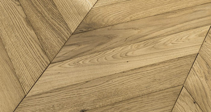 Cambridge Chevron Natural Oak Brushed & Oiled Engineered Wood Flooring - Descriptive 3