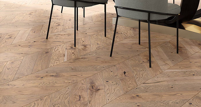 Chelsea Chevron - Urban Oak Brushed & Lacquered Engineered Wood Flooring - Descriptive 1