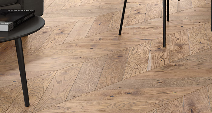 Chelsea Chevron - Urban Oak Brushed & Lacquered Engineered Wood Flooring - Descriptive 2